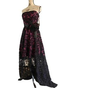 Gorgeous lace midi to maxi lace gown with bow